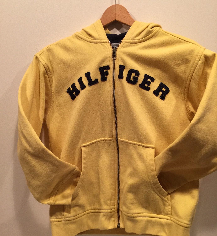 vintage tommy hilfiger yellow jacket sweatshirt hoodie size. Black Bedroom Furniture Sets. Home Design Ideas
