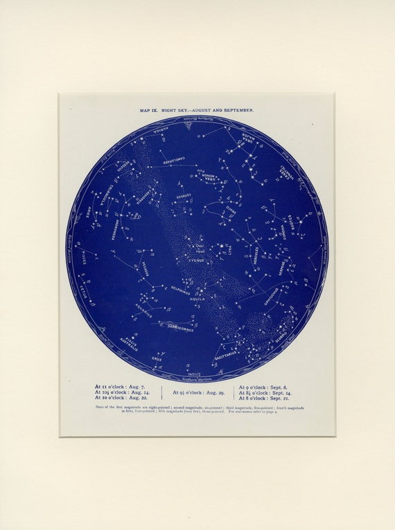 Matted Antique Zodiac Print Night Sky Of Leo And Virgo C 1887