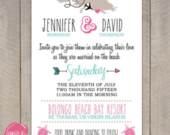 Destination Wedding Invitation - Travel Theme - Beach - Island - Tropical - Printable