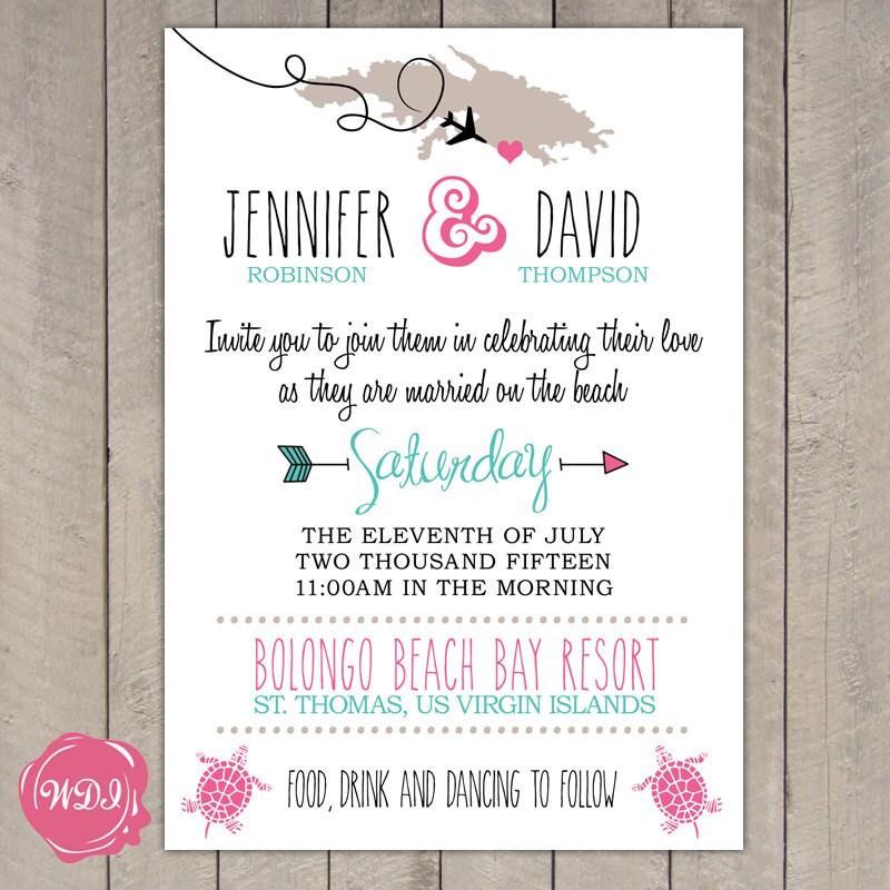 Destination Wedding Invitation Travel Theme Beach Island