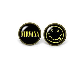 X384- Nirvana, Glass Dome Post Earrings