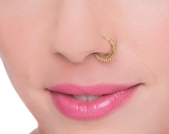 Tribal Nose Ring, Indian Nose Ring, Gold Nose Ring, Solid Gold Nose Ring, Nose Ring, Nose Hoop, Septum, Cartilage, Tragus, Rook