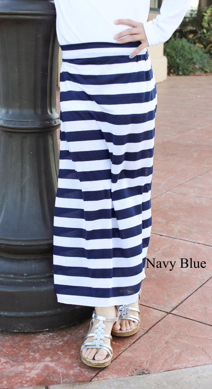 knit navy blue and white stripe maxi skirt