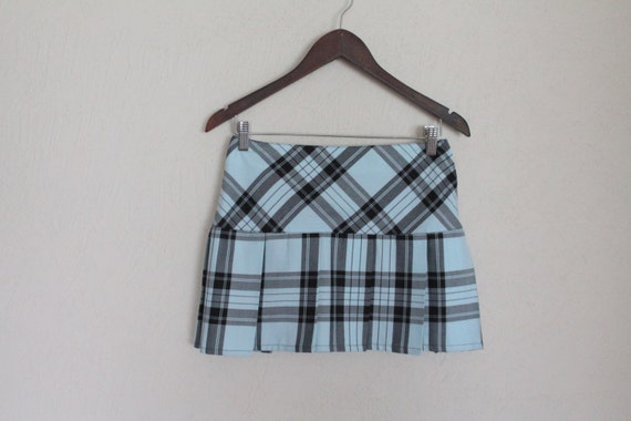 baby blue black tartan plaid mini skirt pleated by