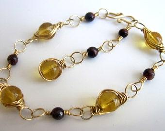 Amber & Red Tiger's Eye Bracelet in Red Brass