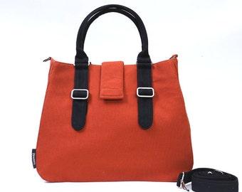 POPPY / Large / Ship in 5 days / BurntOrange / Lined with Grey Stripes / Adjustable Strap and Elastic Pockets / Diaper Bag / Handbag / mom