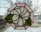 Sale Handmade Stained Glass White Flower Hex Frame Suncatcher