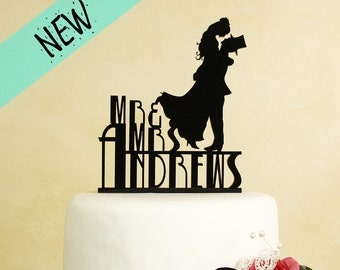Mr and Mrs Wedding Cake Topper with Silhouette couple personalized in Art Deco Lettering with your last name. (Style D-2B)
