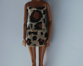 11.5 inch doll clothes- leopard burlap outfit