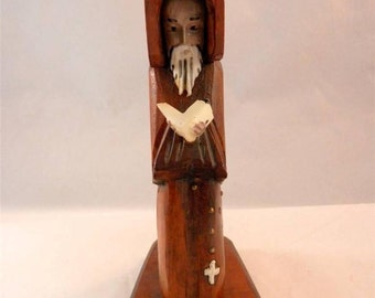 Vintage Sculpted Monk Wood Hand Carved Priest Reading Figure