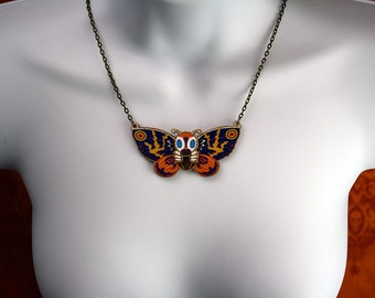 Wooden Mothra Kaiju Pendant