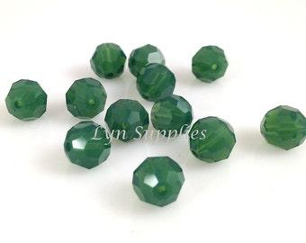 8mm 12pcs PALACE GREEN OPAL Swarovski Crystal 5000 Faceted Round Beads Dark Green Jade