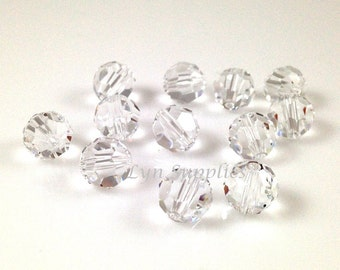 8mm CRYSTAL 5000 Swarovski Crystal Faceted Round Beads Clear Transparent Colorless