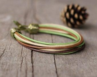 Brown green mens bracelet - designer wristband for men - masculine bracelet