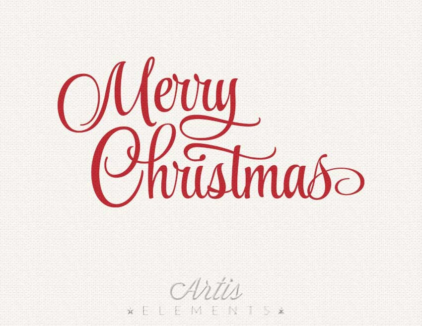 Merry Christmas Clipart Typography Red Script Photo Overlay