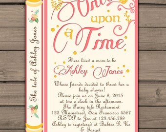 Nice Once Upon A Time Baby Shower Invitation Shower Invite Pink Coral Yellow  Fairy Tales Storybook Baby