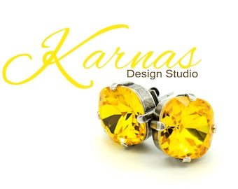 SUNFLOWER 12mm Cushion Cut Stud Earrings Swarovski Elements *Pick Your Finish *Karnas Design Studio *Free Shipping*