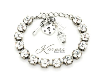 CRYSTAL CLEAR 8mm Crystal Chaton Bracelet Made With Swarovski Elements *Pick Your Metal *Karnas Design Studio *Free Freight*