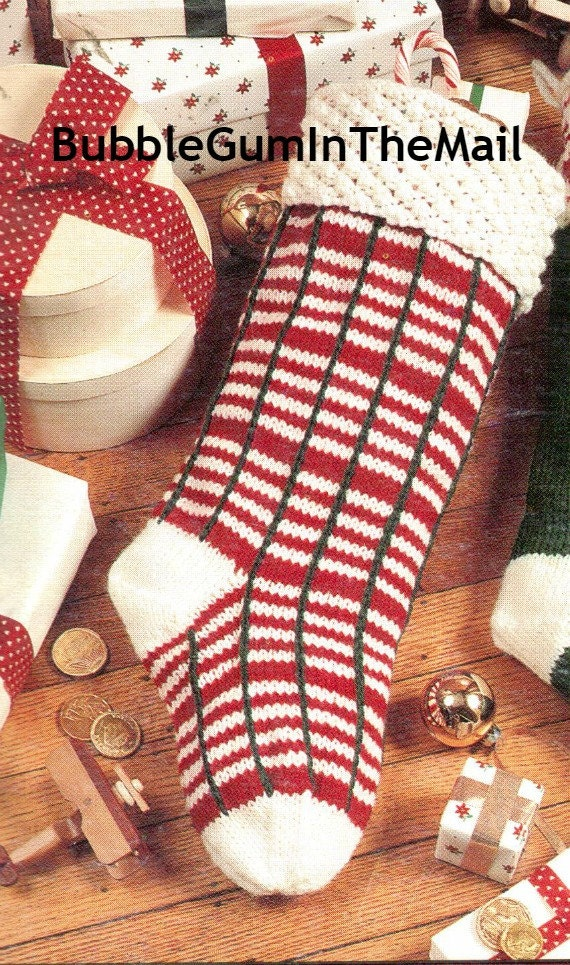 Vintage Christmas Stocking Knitting Pattern : Knit Christmas Stocking Sock Pattern Plaid by BubbleGumInTheMail