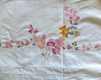 Antique  bedspread,  spring flowers, embroidered cotton, handem broidered