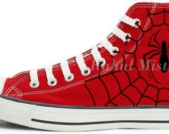 Spider-Man All Star Converse Red Handpainted Shoes.