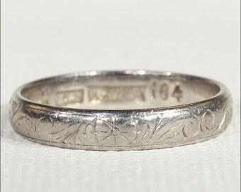Antique Edwardian Engraved Platinum Wedding Band, Size 6.5 US