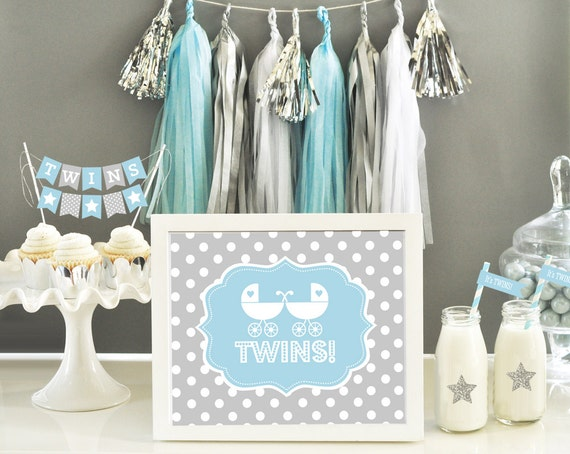 Items similar to twin boy shower baby shower twin boys for Baby shower decoration ideas for twins
