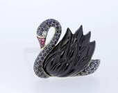 Black Swan Brooch/Pendant with Onyx wings and Blue Sapphires 14K Gold