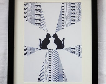 Framed Abstract Cat Art Print