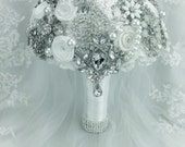 Classic Rich White Ivory Wedding Brooch Bouquet. DEPOSIT on jeweled pearl bling bouquet in Off White shades and Silver. WINTER WONDERLAND
