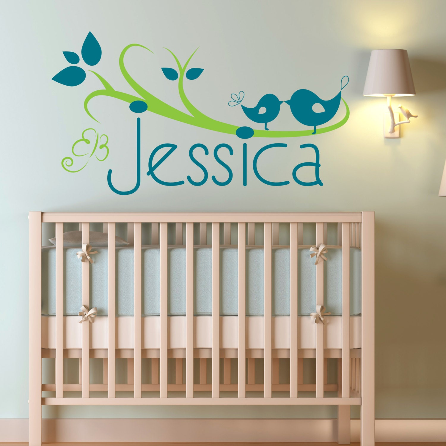 Custom baby name above the crib tree vinyl wall sticker for Above the crib decoration ideas