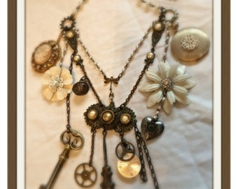 """Vintage 1920's """"English Golden Locket"""" Cameo, Baby Rattle, Key & Brooch Necklace - OOAK - Free Shipping - LAYAWAY PLANS"""