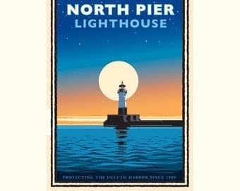 Landmark Series | North Pier Lighthouse Lake Superior, MN by Graphic Artist, Mark Herman