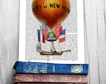 City of New York Hot Air Balloon Print, New York Print new york poster hot air balloon decor balloon wall art balloon art New York city