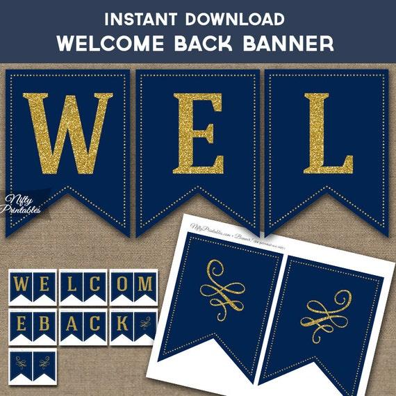 welcome back banner printable navy blue  u0026 gold glitter