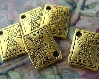 10  Paris Postage Stamp .Charms,charms,Paris Charms