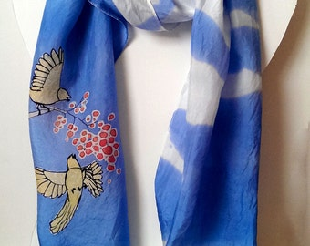 Blue Sky Yellow Birds and Red Berry Handpainted Silk Scarf
