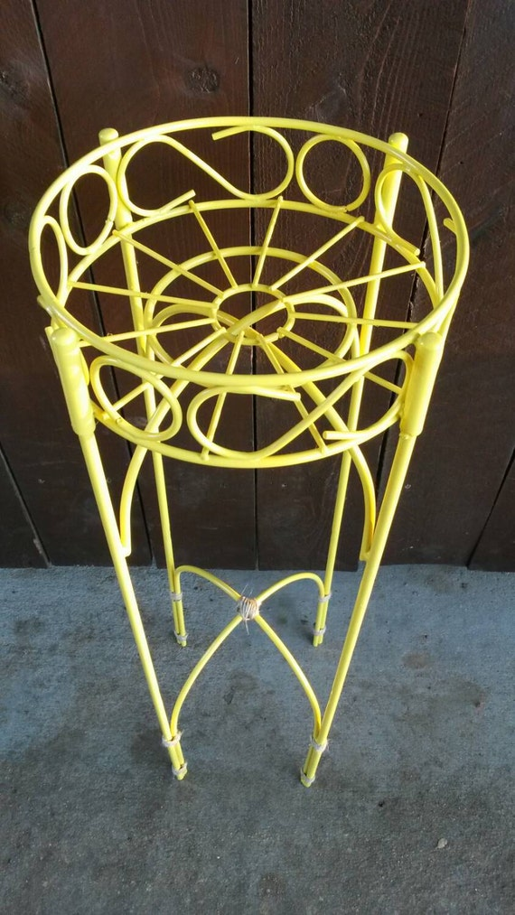 Yellow Plant Stand Vintage Garden Table Round Wrought Iron