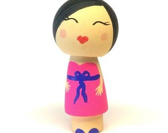 OOAK Kokeshi Peg Doll, Gift for Little Girl, Wooden Doll, Waldorf Imaginative Play, Little Doll, Peg People, Toy for Girls, Dollhouse Toy