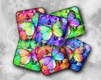 Butterfly Images, Square 2 inch, Digital Collage Sheet, Craft Supplies, Fridge Magnets, Key Chain, Scrapbooking