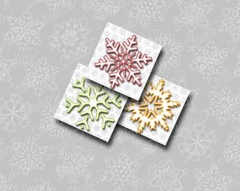 Snowflake Images, 1 inch Square, Digital Collage Sheet, Key Chain, charm glass pendants, jewelry making, Christmas decoration