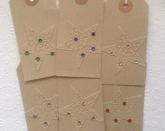 6 Handmade Vintage Manilla Embossed Star Snowflake Gem Gift Tags for Presents pre strung
