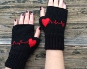 Black Fingerless Gloves Red Heart Embroidered Gloves Heartbeats Cozy Mittens Handknit Gloves Handwarmer Valentine's Day's Gift  Nicknacky