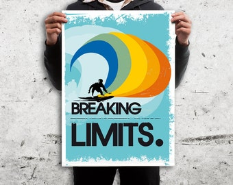 Retro Surfer Design Poster - Digital Print. Different sizes- Breaking Limits Quote - Home Decor