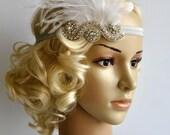 The Great Gatsby,20's flapper Vintage Inspired Bridal 1920s Headpiece Bridal Wedding 1930's Rhinestone headband flapper headpiece