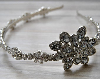 Rhinestone 1920s Headpiece, Flapper headband headpiece, Great Gatsby, Rhinestone crystal flapper Bridal Wedding headpiece headband