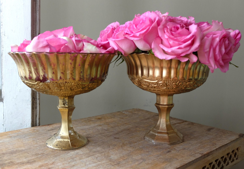 Beautiful ornate glass pedestal vases set distressed yellow