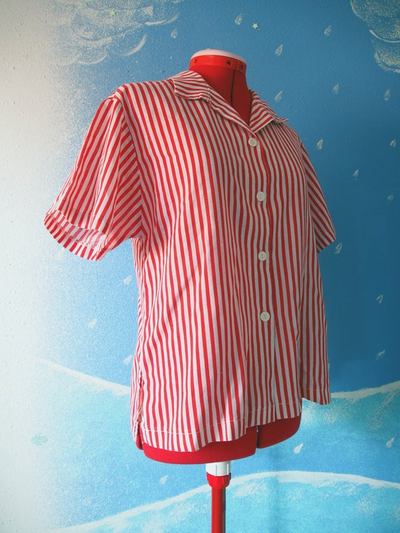 Red and White Striped Shirt // Vertical Stripes Candy Cane