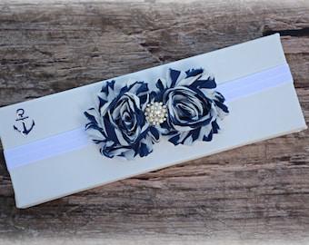 Blue Swirl Nautical Beach Headband Infant Baby Toddler Girl Birthday Prop Gift Present