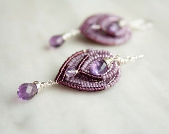 Wire Wrapped Sterling Silver and Amethyst Chandelier Earrings, Victorian Style Jewelry